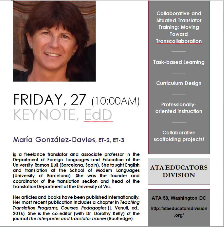 Keynote speaker for the Educators Division: María González-Davies